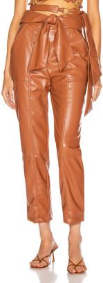 Jonathan Simkhai Vegan Leather Tie Waist Pant in Tobacco | FWRD