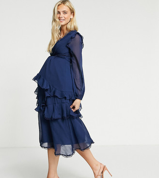 ASOS DESIGN Maternity midi dress with long sleeve and circle trim