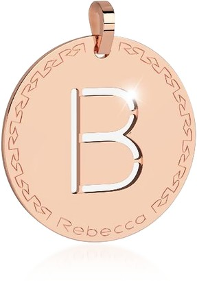 Rebecca Rose Gold-plated Bronze B Charm W/Rhodium-plated Necklace