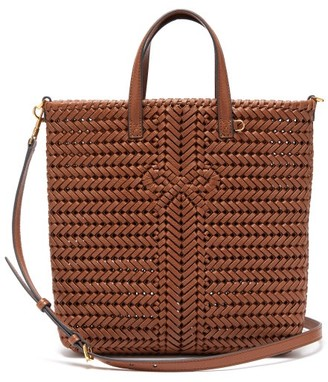 Anya Hindmarch The Neeson Small Woven-leather Tote Bag - Brown