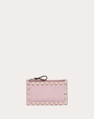 Valentino Rockstud Metallic Grainy Calfskin Cardholder With Zipper Women Light Pink 100% Pelle Di Vitello - Bos Taurus OneSize