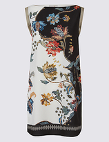 Per Una Floral Print Slash Neck Sleeveless Tunic
