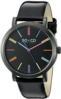 SO&CO New York Unisex 5092.2 SoHo Multicolor Markers Black Patent Leather Band