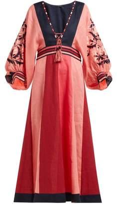 Vita Kin - Celia Floral-embroidered Linen Midi Dress - Womens - Pink Multi