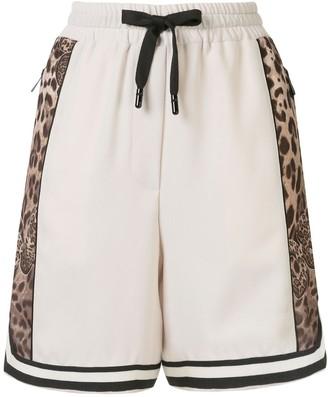 Dolce & Gabbana Leopard Logo Shorts