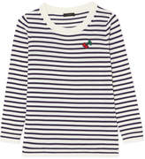 J.Crew Appliquéd Striped Merino Wool Sweater - Midnight blue