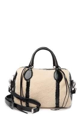 Rebecca Minkoff Genuine Shearling & Leather Barrel Bag