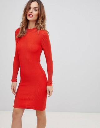 Y.A.S textured knit mini dress in orange