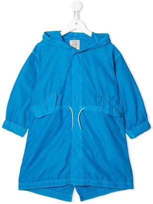 Denim Dungaree Drawstring Waist Hooded Jacket