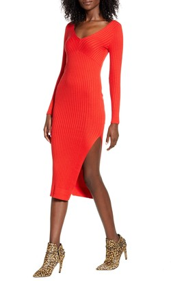 Leith Angle Rib Long Sleeve Midi Sweater Dress