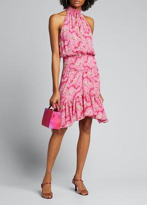A.L.C. Cody Floral-Print Asymmetrical Halter Dress