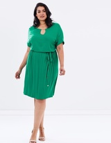 Jersey Midi Dress with Neck Bar