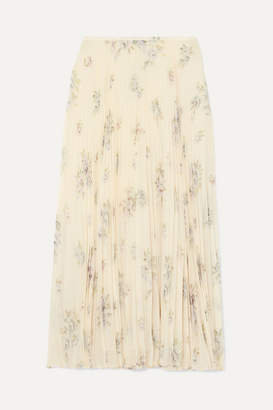 Joseph Abbot Pleated Floral-print Silk-chiffon Midi Skirt - Off-white