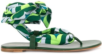 Gianvito Rossi Printed Thong Sandals
