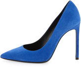 Saint Laurent Paris Suede Pointed-Toe Pump, Blue