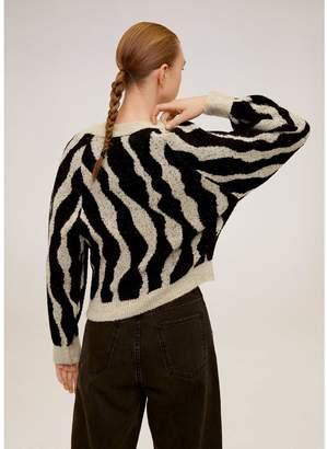 MANGO Zebra Knitted Jumper - Beige