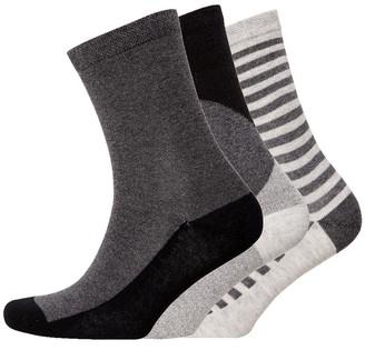Jaeger Womens Three Pack Diagonal Blocking Socks Black Charcoal