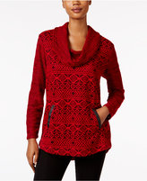 Style&Co. Style & Co. Jacquard Cowl-Neck Knit Top, Only at Macy's