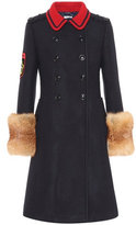 Miu Miu Fur-trimmed wool coat