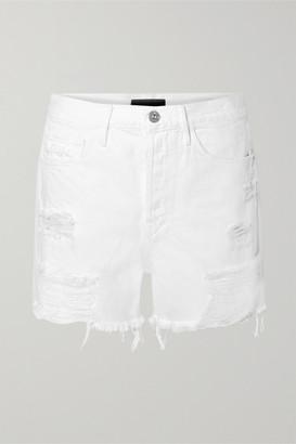 3x1 Blake Distressed Denim Shorts - White