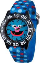 Sesame Street Boys Blue Polka Dot Grover Time Teacher Strap Watch W003154