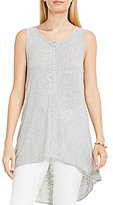 Vince Camuto Two By Sleeveless Hi-Low Slub Knit Cheveron Henley Top
