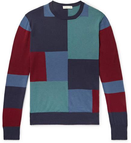 Etro Slim-Fit Colour-Block Wool Sweater