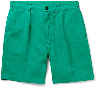 Drakes Slim-Fit Pleated Linen Shorts