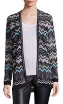 M Missoni Metallic Zigzag Striped Cardigan