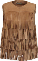 Alice + Olivia Walker fringed suede and cotton-poplin vest