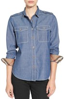 Burberry Check Cuff Denim Shirt