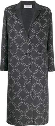 Valentino logo grid single-breasted coat