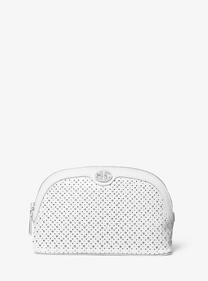 Michael Kors Monogramme Studded Leather Travel Pouch - Optic White