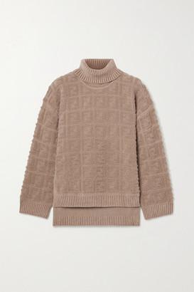 Fendi Oversized Boucle Turtleneck Sweater - Sand
