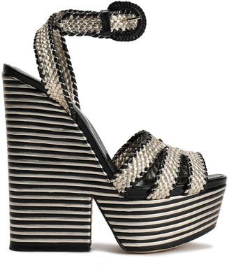 Sergio Rossi Metallic Woven Leather Platform Sandals