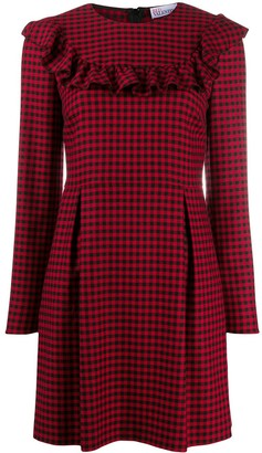 RED Valentino Ruffle-Trim Gingham Dress