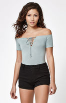 La Hearts Off-The-Shoulder Lace-Up Top