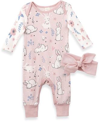 Tesa Babe Girls' Rompers Pink/Flower - Pink Bunny Garden Playsuit & Pale Pink Bow Headband - Newborn & Infant