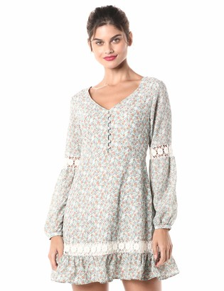 Cupcakes And Cashmere Women's Harmoni Printed Long Sleeve Dress with Trims