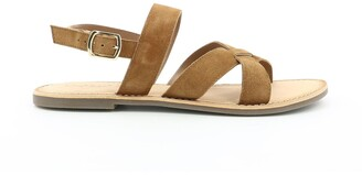 Kickers Diba Suede Flat Sandals with Cross-Strap