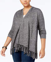 Style&Co. Stye & Co Plus Size Fringed Open-Front Cardigan, Created for Macy's