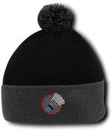 Speedy Pros Badminton Logo Embroidery Embroidered Pom Pom Beanie Skully Hat Cap