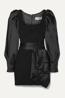 Silvia Tcherassi Dilek Wool-crepe And Silk-satin Mini Dress - Black