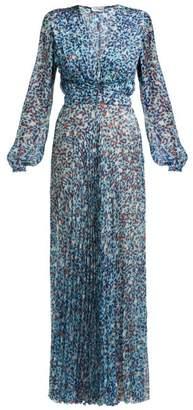 Raquel Diniz Olivia Leopard Print Silk Georgette Dress - Womens - Blue Multi