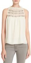 Parker &Autumn& Embellished Sleeveless Silk Top