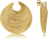 Stefano Patriarchi Golden Silver Etched Round Shield Drop Earrings