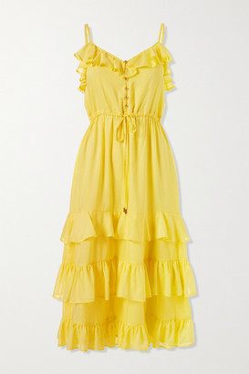 Melissa Odabash Bethan Tiered Ruffled Crepe De Chine Midi Dress - Yellow