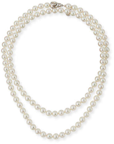 """Majorica 8mm Simulated Pearl Necklace with Moveable Clasp, 35"""""""