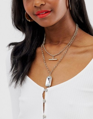 Liars & Lovers gold t bar multi row short necklace