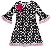 Rare Editions Girls 2-6x Quatrefoil Cotton Blend Dress